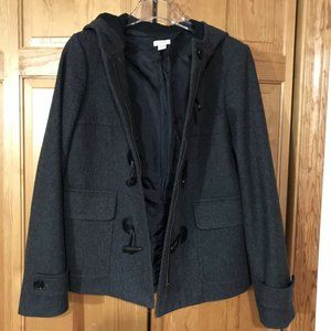 J. Crew Women's Gray Wool Pea Coat Toggle Closure